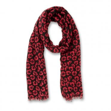 Black & Red Poppy Scarf - Small Poppies