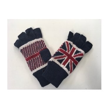 Union Jack Wooly Fingerless Gloves