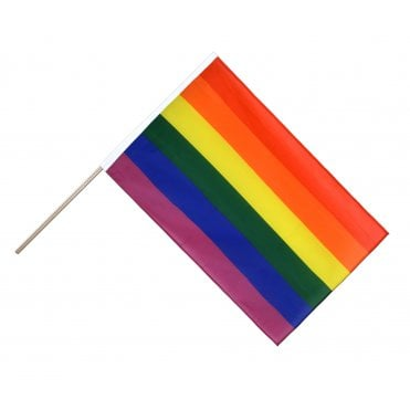 Two Gay Pride Rainbow Hand Flags with 2 ft wooden pole