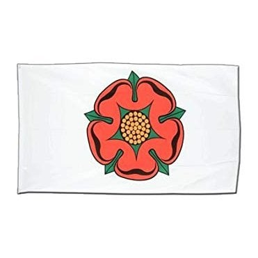 Lancashire Red Rose on White Hand Flag 2ft