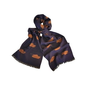 Tank Scarf - Tiger Tank Scarf, Navy and Gold