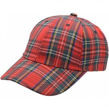 Red Tartan Baseball cap. Scotland Baseball Cap Adult size