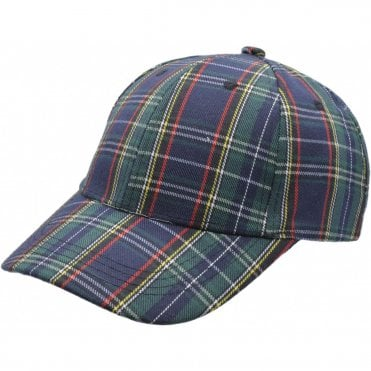 Green & Blue Tartan Baseball cap. Scotland Baseball Cap Adult size