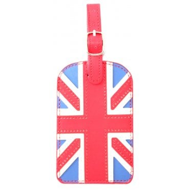Luggage Tag - Union Jack with buckle & Red strap
