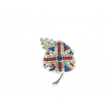 Union Jack Brooch - poppy shape with tiny stones