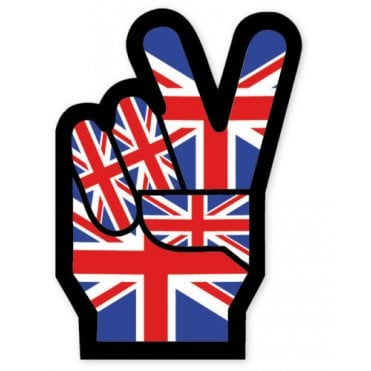 Union Jack Cool Britannia - V for Victory - Peace- Sticker - 10 x 6 cm
