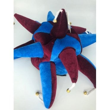 Claret and Blue Jester hat with bells