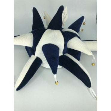 Dark Blue & White Jester Hat - with Bells