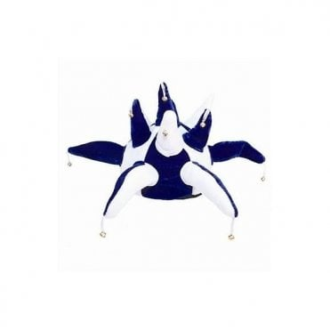 White and Royal Blue Jester hat with bells