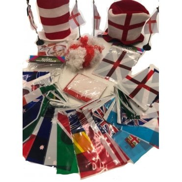 Rugby World Cup 2019 England Party Kit 2019 Bunting, Hats, Wigs