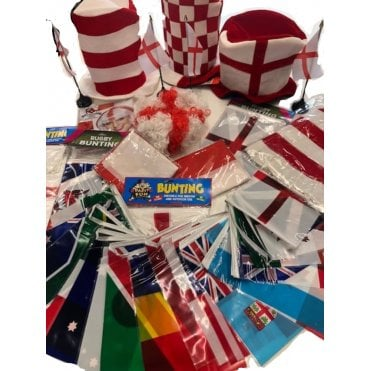 Rugby World Cup 2019 ENGLAND XL Party Kit 2019 Bunting, Hats, Wigs