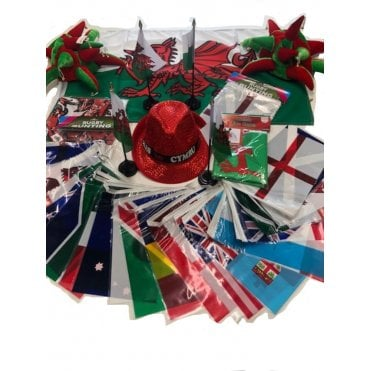 Rugby World Cup 2019 WALES Party Kit 2019 Bunting, Hats, Wigs
