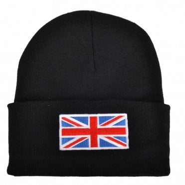 Black Union Jack Flag Beanie Hat