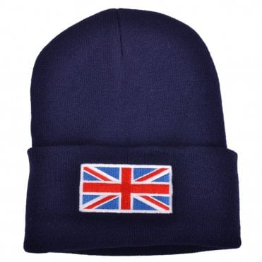 Navy Blue Union Jack Flag Beanie Hat