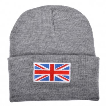 Grey Union Jack Flag Beanie Hat