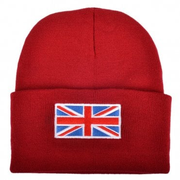 Red Union Jack Flag Beanie Hat