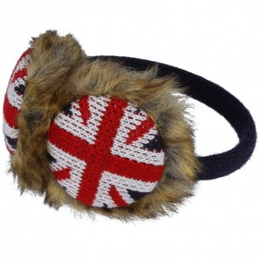 Union Jack Furry Ear Muffs - Brown Fun Fur