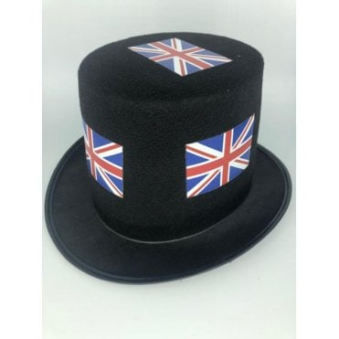 24 Union Jack Black Top Hats - Pack of 24
