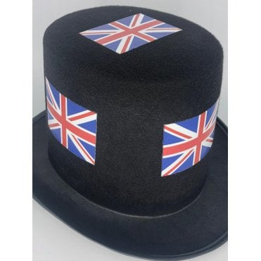 12 Union Jack Black Top Hats - Pack of 12