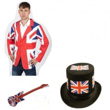Union Jack Rock Star Fancy Dress Kit - Noddy Holder style Slade Hat
