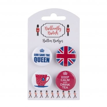 4 British Pin Badges Teacup, Keep Calm & drink Tea, God Save the Queen & Union Jack