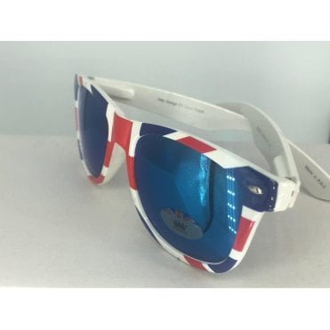 Union Jack Wayfarer Sunglasses - Blue 'Mirror' lenses