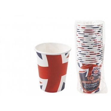 10 Union Jack Wavy Flag Design Cardboard Paper Cups