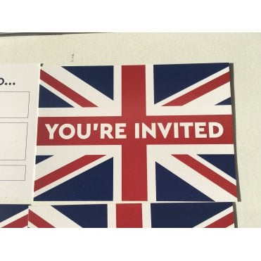 Union Jack Party Invitations with envelopes - 8 - Birthdays, Drinks, Celebrations