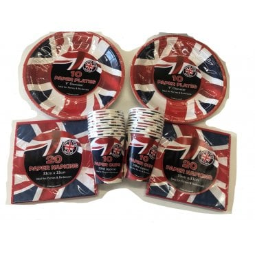 Union Jack Party Kit T2 VE Day Party Pack - Cups, Plates & Napkins
