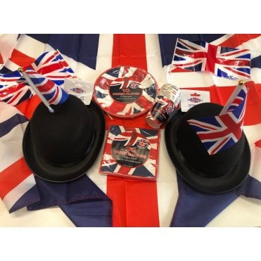 Union Jack Kit F. Party Pack - Union Jack Flag, Flag Bowler Hats, Cups, Plates, Napkins, Bunting etc