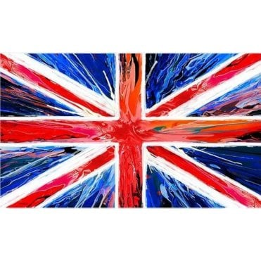 Union Jack Tea Towel - 'Spin Painting' 100% Cotton