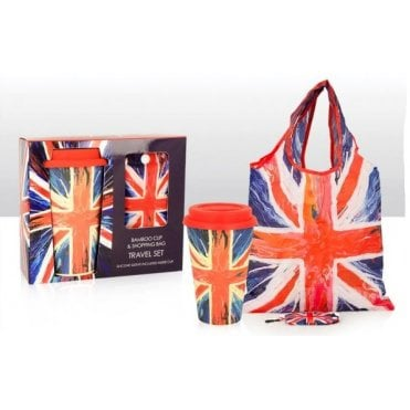 Union Jack Bamboo Cup and shopping Bag 'Spin Painting' design