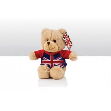 Teddy Bear with Union Jack T-Shirt - 15cm tall