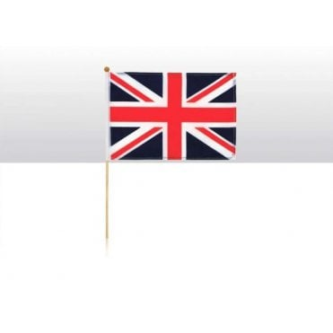 "Union Jack Hand Flag - Fabric flag on wooden stick 6""x 9"""