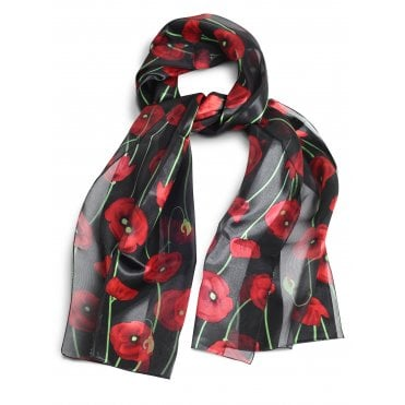Silky Black Poppy Scarf, with green stems