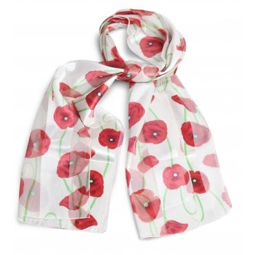 Silky White Poppy Scarf, with green stems
