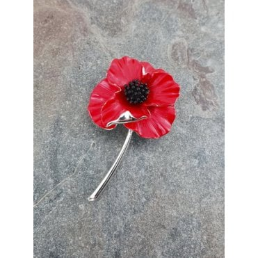 Silver Plated Detailed Poppy Brooch