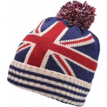 Union Jack Pom Pom Beanie Bobble Hat. Stripe edge