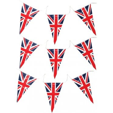 Union Jack Triangle Pennant Bunting 7m - 25 PVC Flags