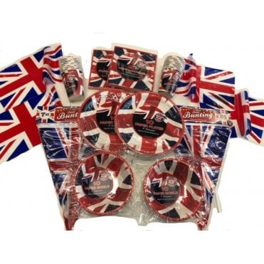 Union Jack Party Kit FB Big Party Pack - Bunting, Cups, Plates, Bowls, Napkins & Flags