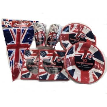 Union Jack Party Kit T2+ Party Pack - Bunting, Cups, Plates & Napkins