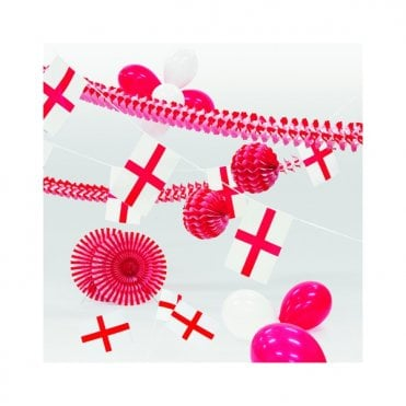 Party Decoration Kit - ENGLAND - St George. Inc Garlands, balloons bunting etc