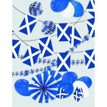 Party Decoration Kit - Scotland - St Andrew. Inc Garlands, balloons bunting etc
