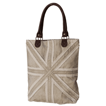 Canvas Beige Union Jack Shopping Bag - Up-Cycled so each is Unique