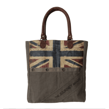 Brown Canvas Shopping Bag with colour Union Jack - Up-Cycled so each is Unique