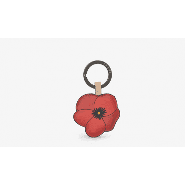 Leather Poppy Keyring