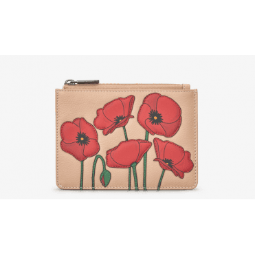 Leather Poppy Zip Top Purse