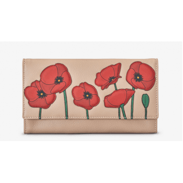 Leather Poppy Flap Over Purse