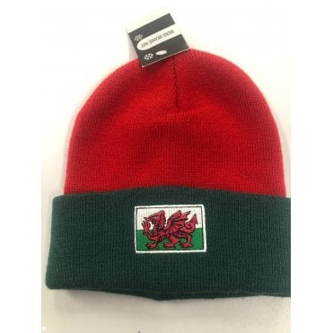 Green & Red Hat with Welsh Wales Flag - Beanie Hat