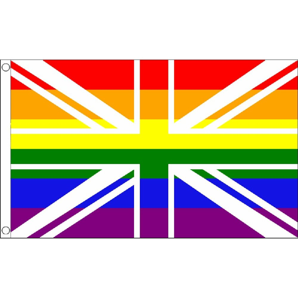 Union Jack Rainbow, Gay Pride flag 5 foot x 3 foot